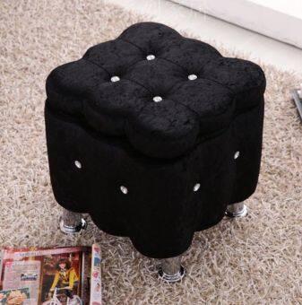 PR Furniture เก้าอี้สตูล เก็บของได้ หุ้มผ้ากำมะหยี่ ขนาด 40*40*40cm-สีดำ