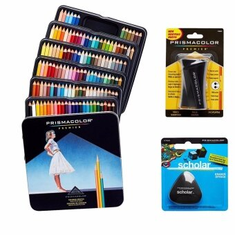 Prismacolor Quality Art Set - Premier Colored Pencils 132 Pack,Premier Pencil Sharpener 1 Pack and Latex-Free Scholar Eraser 1Pack - intl