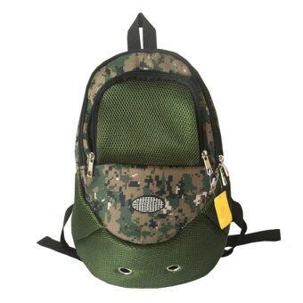 รีวิว กระเป๋าเดินทางกระเป๋าเป้สะพายหลังสุนัขนำตาข่ายสีเขียว