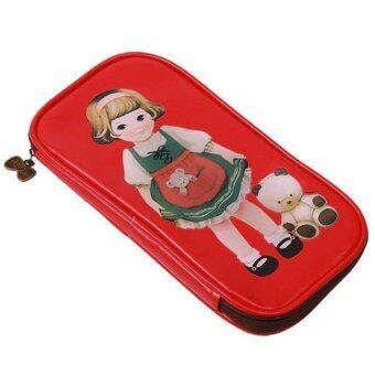 ขาย อยู่ที่เฉียวฉลาดน่ารักกระเป๋าดินสอปากกาเครื่องเขียนกระเป๋ากระเป๋าภูสีแดง