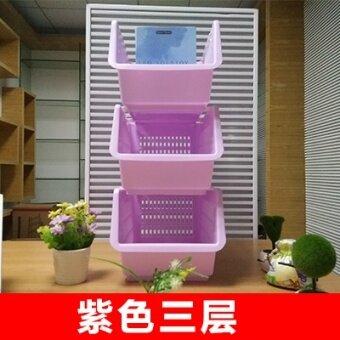 พลาสติกสามชั้นโหลดสไตล์ญี่ปุ่นชั้นวางห้องครัว