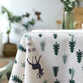 สไตล์เกาหลีผ้าฝ้ายสีเขียวต้นไม้ปกผ้าขนหนูผ้าปูโต๊ะ