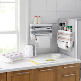 ชั้นวางเครื่องครัวและมีที่แขวนกระดาษทิชชู