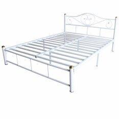 PT เตียงเหล็ก ขากว้าง 2 นิ้ว ขนาด 5 ฟุต รุ่น Lotus-5 (สีขาว)