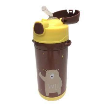 RAMADA กระติกน้ำเด็กเล็กสูญญากาศเก็บความร้อน / เย็นได้นาน 12ชั่วโมง วัสดุเกรดพรีเมี่ยม ฝากดหลอดเด้งพร้อมดื่มสะดวกสำหรับคุณหนูๆเด็กเล็กไปโรงเรียน ขอบกันน้ำรั่วซึมพร้อมสายสะพายDILLER HOT & COLD CHILDREN VACUUM 8652 - 500 ml. (BROWN)