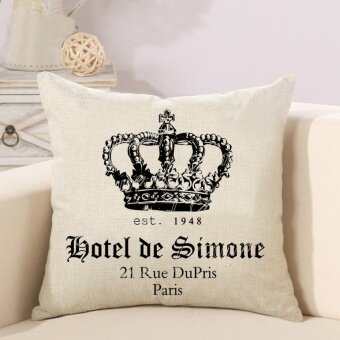Ready Stock Crown Pattern Printed Linen Pillowcases Home Decor CarSofa Cushion Covers - intl