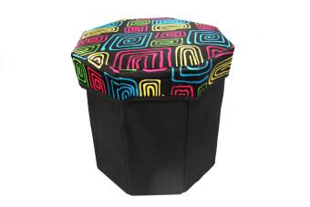 อยากขาย Replica Shop เก้าอี้สตูล 8 เหลี่ยม ลายกราฟฟิก - สีดำ