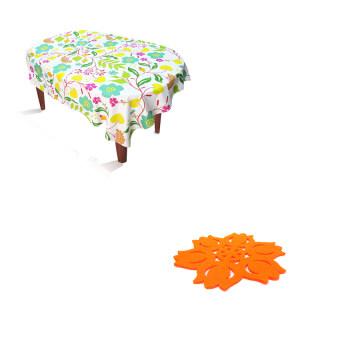 Replica Shop ผ้าปูโต๊ะอาหาร ลาย Flower Art + Replica Shopแผ่นรองแก้วผ้าสักราด ลายทิวลิป (สีส้ม) 12 ชิ้น/แพ็ค