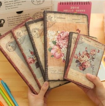 Retro PU Leather Floral Flower Schedule Weekly Planner Notebook -intl