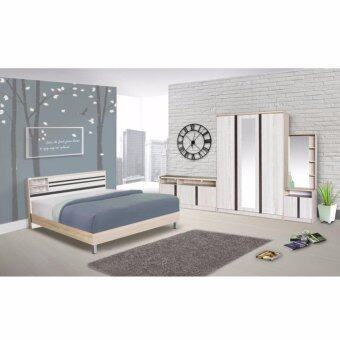 RF Furniture ชุดห้องนอน สีโซลิด/ดำ ขนาด 5 ฟุต + ตู้เสื้อผ้า 3 บาน +โต๊ะแป้งยืน60 cm + ตู้วางทีวี 120 cm + ที่นอนสปริง ( สีโซลิค/ดำ )