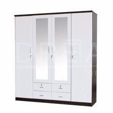 RF Furniture รุ่น W1801WM ตู้เสื้อผ้า 4 บาน ประตูบานขาวเมลามีน พร้อมกระจกเงาหน้าบานยาวบานกลาง 2 บาน ( สีโอ๊ค/ขาว )