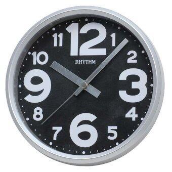 RHYTHM นาฬิกาแขวนผนัง พร้อมขาตั้งโต๊ะ รุ่น CMG890GR19 ขอบเงิน/หน้าดำ อารบิกสีขาว