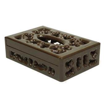 RTT กล่องทิชชู่ ไม้สักทอง ฉลุโบราณ สีโอ๊ค แบบเตี้ย