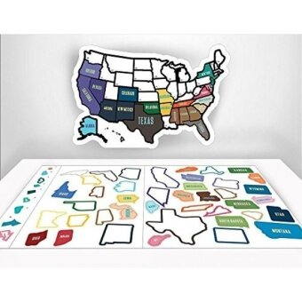 RV State Sticker Travel Map - 13\ x 17\ - USA States Visited Decal - United States Non Magnet Road Trip Window Stickers - Trailer Supplies  Accessories - Exterior or Interior Motorhome Wall Decals - intl
