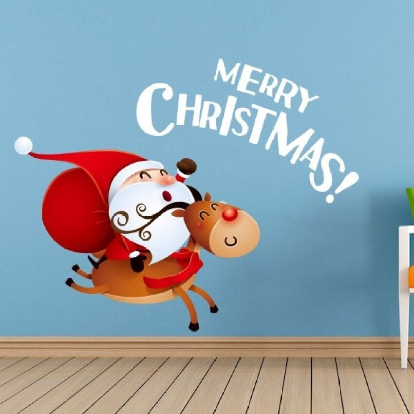 Review Of Santa Claus Riding A Donkey Merry Christmas Illustration WallSticker Fashion Wedding Decor Vinyl Waterproof Wall Sticker BedroomWallpaper