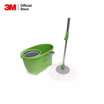 Scotch-Brite® Eco Spin Bucket with Microfiber Mop (T0) สก๊อตช์-ไบรต์® ชุดถังปั่น รุ่นอีโค่ พร้อมหัวม็อบ 2 ชิ้น