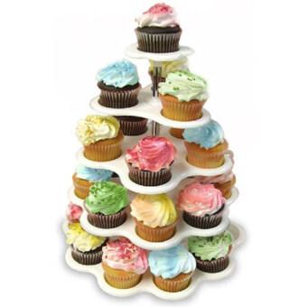 Shoppy ชั้นวางคัพเค้ก ถาดและจานใส่เค้ก จานหมุน ถาดเค้ก ชั้นวางเค้ก 5 ชั้น (สีขาว)