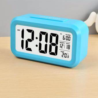 Silent Digital Alarm Clock with Time Temperature Display Night Light(Blue)