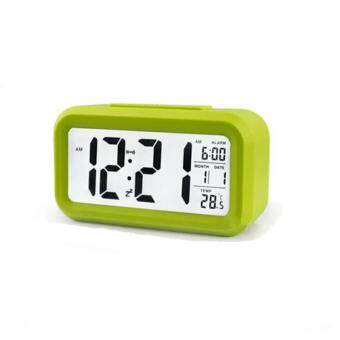 Silent Digital Alarm Clock with Time Temperature Display Night Light(Green)