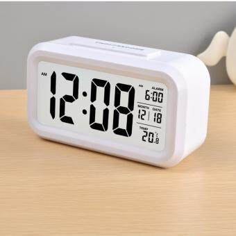 Silent Digital Alarm Clock with Time Temperature Display Night Light(White)