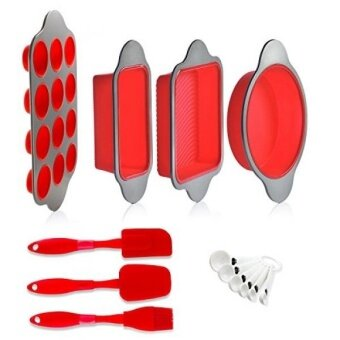 Silicone Baking Molds Pans and Utensils (Set of 13) by Boxiki Kitchen