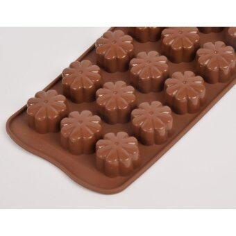 Silikone Craft ดอกไม้ ทรง ขนมผิง คุกกี้สิงคโปร์ ขนาด 15 หลุมแม่พิมพ์ไซส์มาตรฐาน ใช้ทำ ขนมไทย วุ้น ชอคโกแลต ฟองดองค์ตกแต่งหน้าเค้ก ทำน้ำแข็ง Tester สบู่ เทียนแฟนซี เทียนวันเกิด