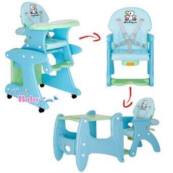SmartKidsChair เก้าอี้ทานข้าวเด็กพร้อมโต๊ะเด็กและเก้าอี้เด็ก แบบ3in1 รุ่น KC-3In1-A สีฟ้า