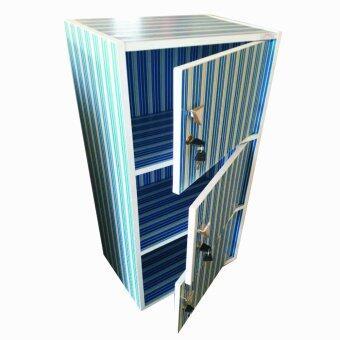 SPK Shop ตู้ล็อคเกอร์ ตู้เอนกประสงค์ ชั้นวางของ 3 ชั้นหน้าบานเปิดปิด รุ่น Box 3 (สีลายเส้นน้ำเงิน)