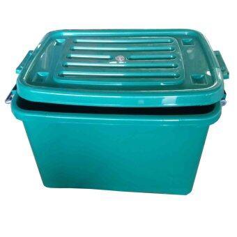 SPK Shop กล่องพลาสติก กล่องใส่ของ อเนกประสงค์ มีล้อเลื่อน รุ่น 50 B(สีเขียว)