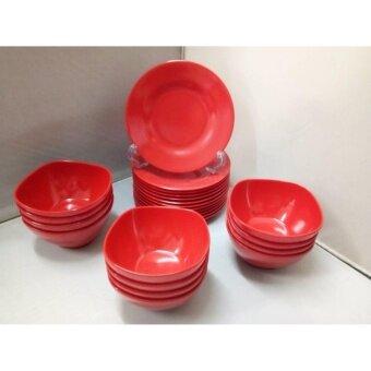 Srithai Superware ชุดหมูกะทะ ซาบู สีแดง (สีมงคล) 24ชิ้น ประกอบด้วยจาน6.5นิ้ว 12ชิ้น+ถ้วย4.5นิ้วทรงเหลี่ยม