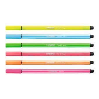 ขาย STABILO Pen 68 ปากกาสีหมึกน้ำ Neon Color Fibre-Tip Pen ชุด 6 สีสีละ2 ด้าม