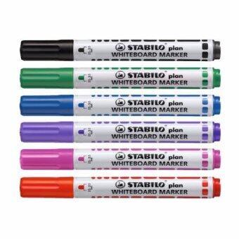 STABILO Plan 641 ปากกาไวท์บอร์ด หัวกลม ชุด 6 สี (กลิ่นไม่ฉุน)