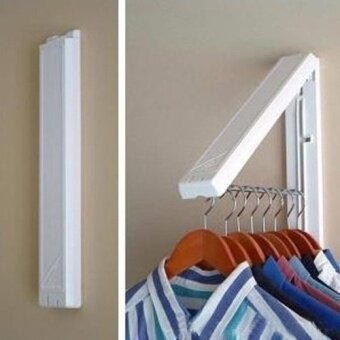 Stainless Folding Wall Hanger Mount Retractable Clothes Foldable Hangers(white) - intl ...