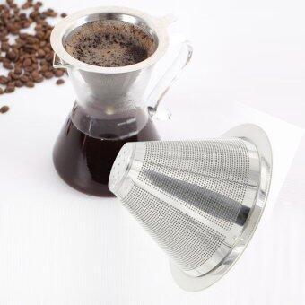 Stainless Steel Coffee Filter Coffee Dripper Pour Over Coffee MakerDrip Reusable Efficient separation Coffee Filter - intl