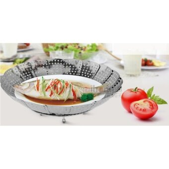Stainless Steel Folding Steamer Steamed Buns Steamed Bread PadPaddle Tray Retractable Folding Steamer Fruit Plate - intl
