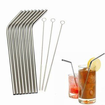 Stainless Steel Metal Drinking Straw Reusable Straws + CleanerBrush Kit Silver- - intl