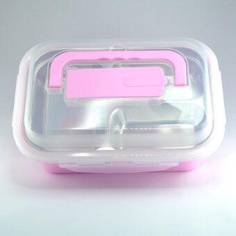 ขายด่วน กล่องข้าวหลายช่องแบบ Stanless สีชมพู หิ้วได้ พร้อมช่องเก็บช้อน