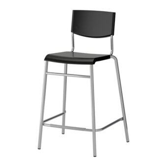 STIG เก้าอี้บาร์มีพนัก Bar stool with backrest สูง 63 cm (ดำ-เงิน)