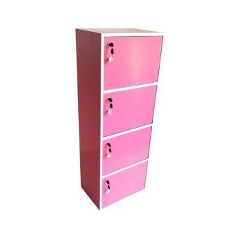 รีวิว SUN กล่องคัลเลอร์บ็อกไม้อเนกประสงค์ 4ชั้น 4ประตู+กุญแจเปิด-ปิด (สีชมพู)