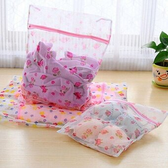 Sunshop Household Cleaning Nylon Print Washing Bags for Clothes BraUnderwear Laundry Bag Mesh 30cm*40cm