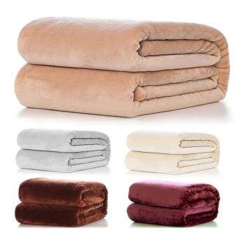 Harga Super Soft Warm Solid Warm Micro Plush Fleece Blanket Throw RugSofa Bedding 50*70cm - intl
