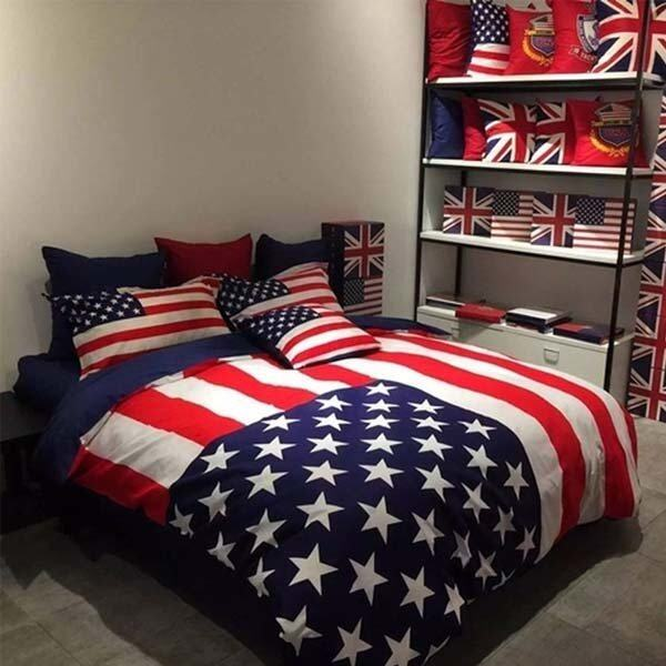 Sweet Kip ชุดผ้าปูที่นอน 6 ฟุต พร้อมผ้านวม 5 ชิ้น ลายธงชาติอเมริกา