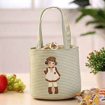 Thermal Insulated Box Tote Cooler Bag Bento Pouch Lunch StorageCase (Green)