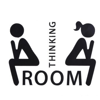 Harga Thinking Room Pattern Toilet Door Sign Removable Toilet WallStickers - intl