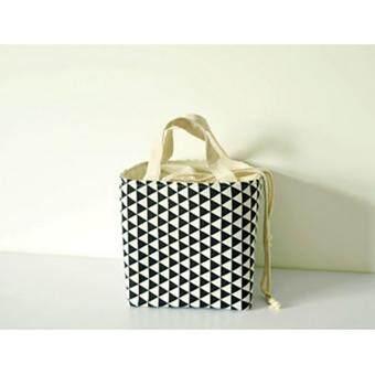 รีวิว TIPS2KEEP กระเป๋าใส่กล่องอาหาร เก็บความร้อน/เย็นทรงสี่เหลี่ยมจัตุรัส ผ้าด้ายดิบลายสามเหลี่ยมสีขาวดำ (LunchboxPouch)