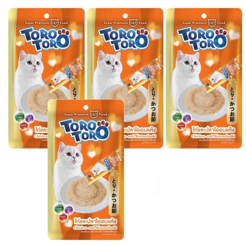 TORO TOROโทโร่ โทโร่ ขนมแมวเลีย รสไก่และปลาโออบแห้ง15g. x 4pcs X 4 pack