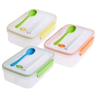 ต้องการขาย Transparent Three Compartments Lunch Bento Box Food Snack ContainerStorage