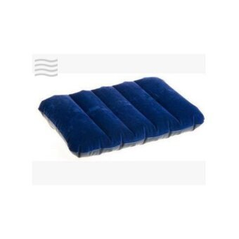 Travel Navy Inflatable Pillow หมอนเป่าลม กำมะหยี่ สีน้ำเงิน