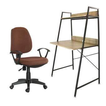U-RO DECOR โต๊ะทำงานอเนกประสงค์ รุ่น LONGBEACH(สีโอ้คธรรมชาติ/น้ำตาลเข้ม) + เก้าอี้สำนักงาน รุ่น PARMA-L(สีน้ำตาล)