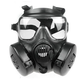 Unisex Men Women Outdoor Sports Tactical Airsoft Paintball FullFace Mask Protective Mask (Black)